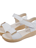 cheap -Women's Sandals Flat Heel Open Toe Wedge Sandals Casual Daily Walking Shoes PU Solid Colored White Pink Light Blue