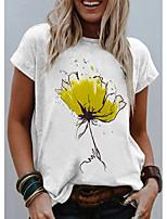 cheap -Women's T shirt Graphic Flower Print Round Neck Tops Basic Basic Top White