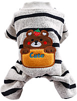 cheap -Dog Cat Jumpsuit Smile Face Basic Adorable Cute Dailywear Casual / Daily Dog Clothes Puppy Clothes Dog Outfits Breathable Gray Costume for Girl and Boy Dog Polyester XS S M L XL