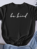 cheap -Women's T shirt Graphic Letter Print Round Neck Tops 100% Cotton Basic Basic Top White Black Blue