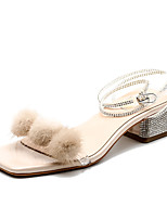 cheap -Women's Sandals Block Heel Square Toe Block Heel Sandals Casual Sweet Daily Walking Shoes PU Solid Colored Almond Silver