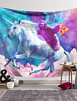 cheap -Wall Tapestry Art Decor Blanket Curtain Hanging Home Bedroom Living Room Decoration Polyester Unicorn Brown Sloth Bear Pizza Color Sky