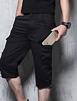 cheap -Men's Hiking Shorts Solid Color Summer Outdoor Breathable Multi-Pockets Wear Resistance Scratch Resistant Cotton Capri Pants Black Yellow Army Green Grey Khaki Hunting Fishing Climbing S M L XL XXL