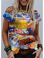 cheap -Women's T shirt Graphic Print Round Neck Tops Basic Basic Top Rainbow