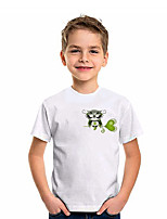 cheap -Kids Boys' T shirt Tee Short Sleeve Owl Graphic 3D Four Leaf Clover Print Children St. Patrick Tops Active White