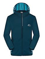 cheap -Men's Waterproof Hiking Jacket Hiking Skin Jacket Hiking Windbreaker Outdoor Solid Color Packable Waterproof Lightweight UV Sun Protection Jacket Hoodie Top Full Length Visible Zipper Fishing