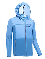 cheap -Men's Hiking Skin Jacket Skin Coat Outdoor Solid Color Lightweight Breathable Quick Dry Ultraviolet Resistant Hoodie Windbreaker Top Single Slider Hunting Fishing Climbing White Blue Light Grey Light