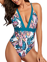 cheap -Women's New Cute Sweet Romper Swimsuit Floral Tropical Racerback Open Back Print Padded Normal Strap Swimwear Bathing Suits Black Blue Blushing Pink / Bikini / One Piece / Tattoo