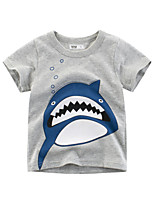 cheap -Boys' Short Sleeve T-Shirts Cartoon Shark Tees Round Neck Kids Tops for 3-7 Years