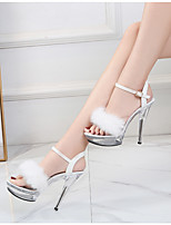 cheap -Women's Sandals Stiletto Heel Peep Toe High Heel Sandals Roman Shoes Daily Walking Shoes PU Solid Colored White Black Red