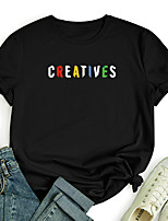 cheap -Women's T shirt Color Gradient Graphic Letter Print Round Neck Tops 100% Cotton Basic Basic Top Black Blue Red