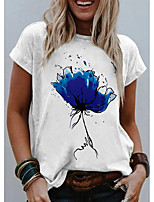 cheap -Women's T shirt Graphic Flower Print Round Neck Tops Basic Basic Top Blue