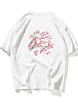 cheap -Men's Unisex T shirt Hot Stamping Floral Plus Size Print Short Sleeve Daily Tops 100% Cotton Basic Casual White Black