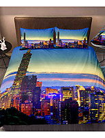 cheap -City View 3-Piece Duvet Cover Set Hotel Bedding Sets Comforter Cover with Soft Lightweight Microfiber, Include 1 Duvet Cover, 2 Pillowcases for Double/Queen/King(1 Pillowcase for Twin/Single)