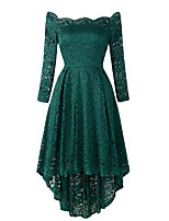 cheap -A-Line Elegant Vintage Party Wear Cocktail Party Dress Off Shoulder 3/4 Length Sleeve Asymmetrical Lace with Pleats 2021