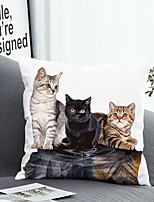 cheap -1 Pc Cushion Cover with or without Pillow Insert Double Side Print Orange Black White Cat Animal 38x38cm / 45x45cm Polyester