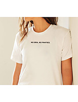 cheap -Women's T shirt Text Letter Print Round Neck Tops 100% Cotton Basic Basic Top White
