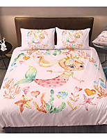 cheap -Cartoon Mermaid 3-Piece Duvet Cover Set Hotel Bedding Sets Comforter Cover with Soft Lightweight Microfiber, Include 1 Duvet Cover, 2 Pillowcases for Double/Queen/King(1 Pillowcase for Twin/Single)