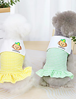 cheap -Dog Cat Dress Print Car Basic Adorable Cute Dailywear Casual / Daily Dog Clothes Puppy Clothes Dog Outfits Breathable Yellow Orange Green Costume for Girl and Boy Dog Cotton XS S M L XL