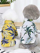 cheap -Dog Cat Shirt / T-Shirt Plants Hawaii Basic Adorable Cute Dailywear Casual / Daily Dog Clothes Puppy Clothes Dog Outfits Breathable White Yellow Costume for Girl and Boy Dog Cotton S M L XL XXL