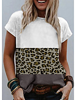 cheap -Women's T shirt Graphic Leopard Print Round Neck Tops Basic Basic Top White