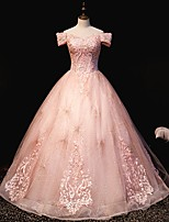 cheap -Ball Gown Luxurious Sparkle Quinceanera Engagement Dress Off Shoulder Short Sleeve Floor Length Tulle with Pleats Sequin Embroidery 2021