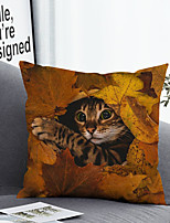 cheap -1 Pc Cushion Cover with or without Pillow Insert Double Side Print Cat Leaf 38x38cm / 45x45cm Polyester