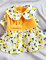 cheap -Dog Cat Dress Flower Elegant Adorable Cute Dailywear Casual / Daily Dog Clothes Puppy Clothes Dog Outfits Breathable Yellow Costume for Girl and Boy Dog Polyester XS S M L XL