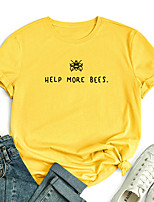 cheap -Women's T shirt Graphic Letter Animal Print Round Neck Tops 100% Cotton Basic Basic Top White Blue Red