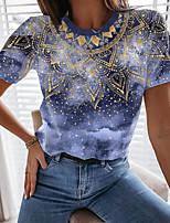 cheap -Women's T shirt Graphic Tie Dye Print Round Neck Tops Basic Basic Top Navy Blue