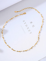 cheap -Choker Necklace Women's Chunky Imitation Pearl Vertical / Gold bar Lolita Sweet Cute White 36 cm Necklace Jewelry 1pc for Daily Festival Round