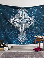 cheap -Wall Tapestry Art Decor Blanket Curtain Hanging Home Bedroom Living Room Decoration Polyester Cross Badge Blue Background Sparkling