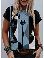 cheap -Women's T shirt Cat Graphic Print Round Neck Tops Basic Basic Top Blue