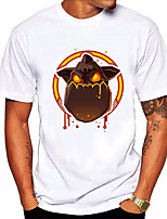 cheap -Men's Unisex T shirt Hot Stamping Animal Plus Size Print Short Sleeve Daily Tops 100% Cotton Basic Casual White