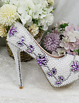 cheap -Women's Wedding Shoes Platform Round Toe Wedding Pumps Vintage Sexy Roman Shoes Wedding Party & Evening PU Rhinestone Pearl Sparkling Glitter Color Block Floral White
