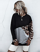 cheap -Women's Sweatshirt Sweater Pullover Leopard Print Patchwork Crew Neck Sport Athleisure Sweatshirt Top Long Sleeve Breathable Soft Comfortable Everyday Use Casual Daily Outdoor