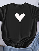 cheap -Women's T shirt Graphic Heart Print Round Neck Tops 100% Cotton Basic Basic Top Black Blue Red