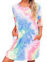 cheap -Women's Tee Dress Tie Dye Crew Neck Sport Athleisure Dress Short Sleeves Breathable Soft Comfortable Everyday Use Casual Daily Outdoor