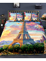 cheap -Eiffel Tower 3-Piece Duvet Cover Set Hotel Bedding Sets Comforter Cover with Soft Lightweight Microfiber, Include 1 Duvet Cover, 2 Pillowcases for Double/Queen/King(1 Pillowcase for Twin/Single)s for Double/Queen/King(1 Pillowcase for Twin/Single)