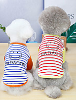 cheap -Dog Cat Shirt / T-Shirt Vest Stripes Smile Face Basic Adorable Cute Dailywear Casual / Daily Dog Clothes Puppy Clothes Dog Outfits Breathable Yellow Blue Orange Costume for Girl and Boy Dog Cotton S