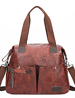 cheap -Women's Bags PU Leather Zipper Patchwork Daily Going out 2021 Handbags dark brown Wine Black