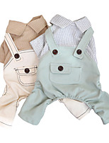 cheap -Dog Cat Jumpsuit Solid Colored Classic Cool Casual / Daily Dog Clothes Puppy Clothes Dog Outfits Breathable Khaki Green Costume for Girl and Boy Dog Cotton XS S M L XL