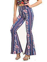 cheap -Women's Vintage Sophisticated Comfort Party Going out Flare Pants Graphic Full Length White Black Blue Light Blue