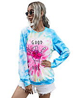 cheap -Women's Sweatshirt Sweater Pullover Tie Dye Crew Neck Sport Athleisure Sweatshirt Top Long Sleeve Breathable Soft Comfortable Everyday Use Casual Daily Outdoor