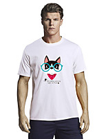 cheap -Men's T shirt Other Prints Graphic Short Sleeve Casual Tops 100% Cotton Basic White Black Blue