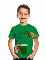 cheap -Kids Boys' T shirt Tee Short Sleeve Graphic 3D Four Leaf Clover Print Children St. Patrick Tops Active Green