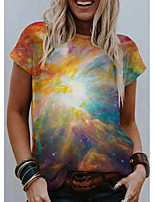 cheap -Women's T shirt Galaxy Graphic Scenery Print Round Neck Tops Basic Basic Top Yellow