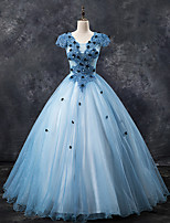 cheap -Ball Gown Color Block Floral Quinceanera Prom Dress Jewel Neck Short Sleeve Floor Length Tulle with Pleats Appliques 2021