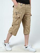 cheap -Men's Hiking Shorts Solid Color Outdoor Breathable Multi-Pockets Wear Resistance Scratch Resistant Cotton Capri Pants Black Yellow Army Green Dark Gray Khaki Hunting Fishing Climbing M L XL XXL XXXL