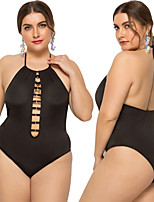 cheap -Women's One Piece Swimsuit Solid Colored Padded Swimwear Bodysuit Swimwear Black Breathable Quick Dry Comfortable Sleeveless - Swimming Surfing Water Sports Summer Plus Size / Elastane